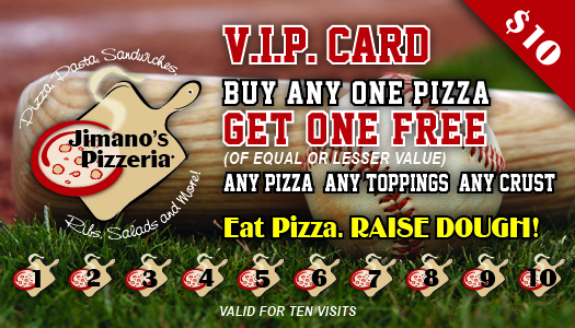 Jimano's Pizzeria VIP Baseball Punch Card