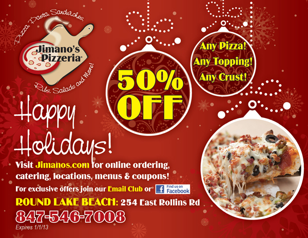Jimano's Pizzeria Holiday Flyer