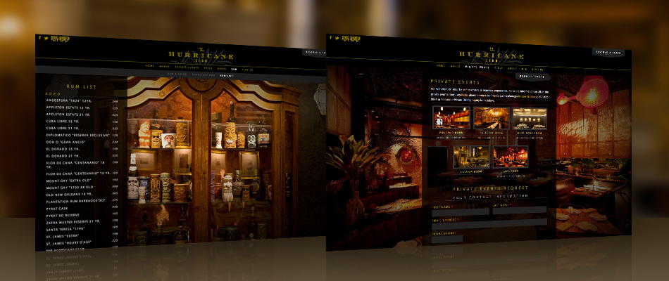 The Hurricane Club website by TVI Designs