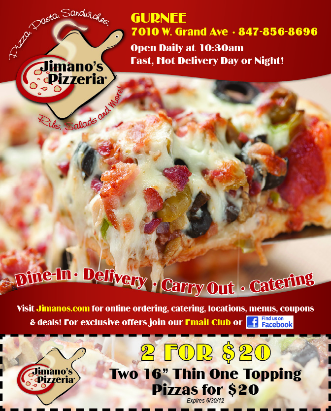 Jimano's Pizzeria Flyer with Coupon