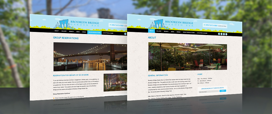 Brooklyn Bridge Garden Bar web design by TVI